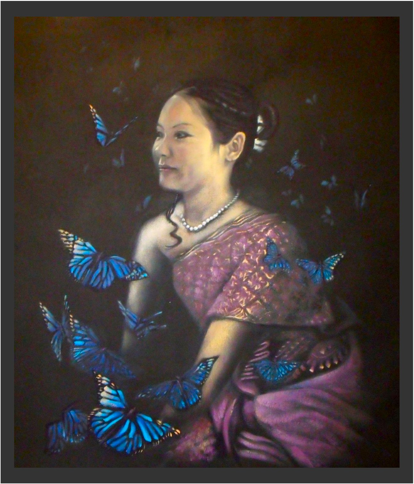 Portrait Painting of 'Cici with Butterflies'
