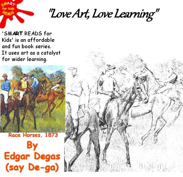 Colour in Race Horses by Edgar Degas for kids / children
