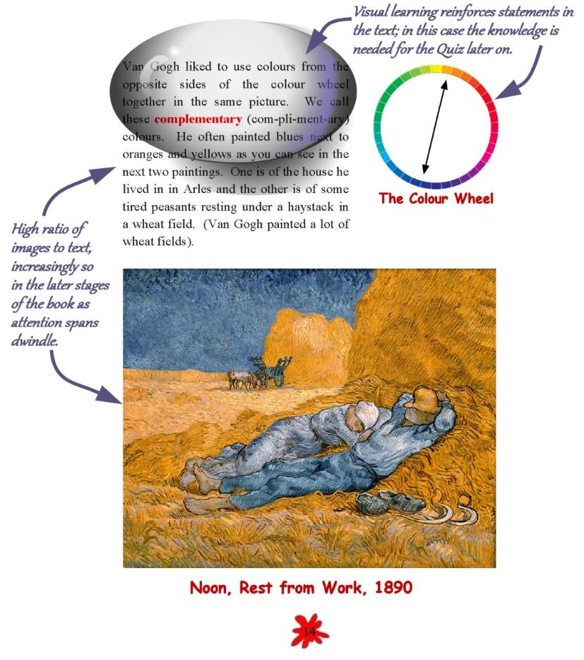 Example page from SMART READS for Kids educational book Junior Vincent van Gogh